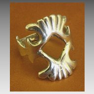 Bold Vintage Open Work Sterling Silver Ring- Size 9 1/2
