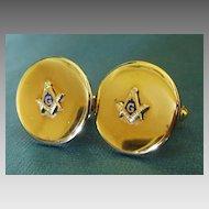 Large Vintage Gold Tone and Enamel Masonic Cuff Links