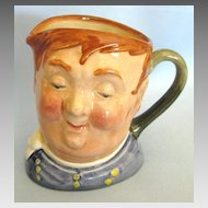 "Charming Vintage English Royal Doulton 1940's Toby ""Fat Boy"" Porcelain Pitcher"