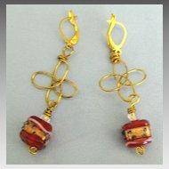 Pretty Italian Wedding Cake Beads Pierced Earrings