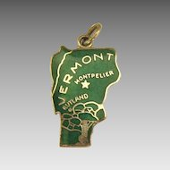 Vintage Green Enamel on Sterling Vermont State Charm