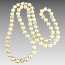 Beautiful Large Glass Pearl & AB Crystal Sautoir Necklace- 38 Inches!