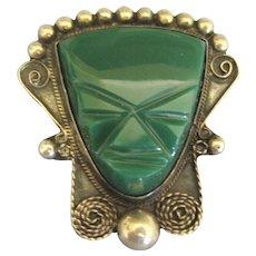 Vintage Signed Sterling Mexican Jade Mask Brooch