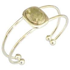 Modernist Agate Sterling Silver Cuff Bracelet
