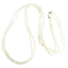 Vintage Faux Pearl AB Crystal Bead 2 Strand Necklace- 50 Inches
