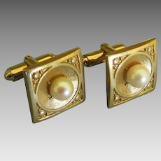 Handsome Vintage Cultured Pearl Cuff Links
