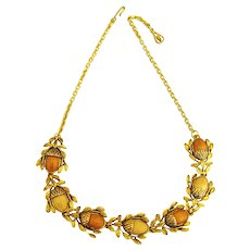 Vintage Acorns with Leaves Necklace