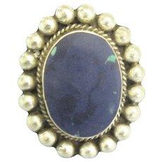 Large Vintage Lapis Lazuli Sterling Silver Ring- Size 6 1/4.