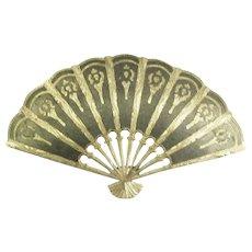 Lovely Vintage Niello Sterling Fan Brooch- Siam