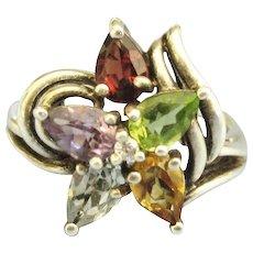Multiple Gemstone Sterling Flower Ring- Size 6 3/4