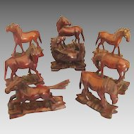 Lovely Hand Carved Chinese Set of 8 Wooden Horses