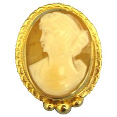 Vintage Signed Vermeil Carved Shell Cameo Brooch or Pendant