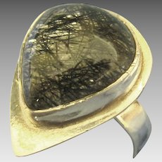 Vintage Hand Crafted Rutilated Quart Sterling Ring