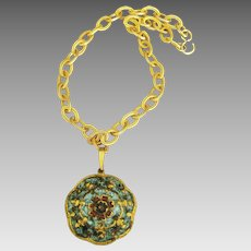 Large Enamel Pendant with Chunky Chain Necklace