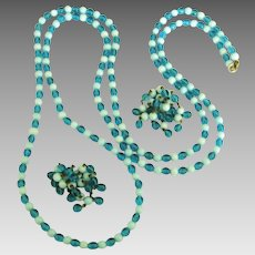 """Vintage Two Tone Blue Glass Bead 50"""" Sautoir Necklace & Cluster Dangle Earrings"""