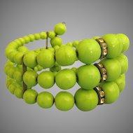 Vintage Apple Green Czech Glass Bead & Rhinestone Expansion Bracelet