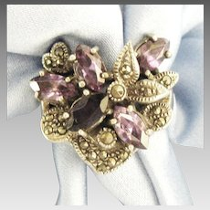 Stunning Amethyst and Marcasite Sterling Flower Ring- Size 7 1/4