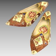 Intricate Vintage Hand Painted Enamel Shoes- Set of 2