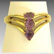 Lovely 10K Triple Amethyst Heart Ring- Size 8 1/2