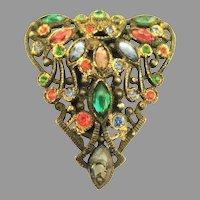 Vintage Jewel Colored Rhinestone Paste Fur Clip