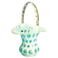 Large Fenton Opalescent Blue Coin Dot Basket- Late 1940's