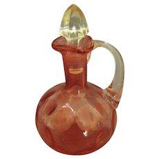 "Vintage Cranberry Glass ""Dot Optic"" Cruet by Fenton"