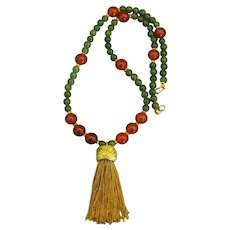 Regal Carnelian and Jade Bead with Chunky Gold Tone Tassel Necklace- 20 Inches