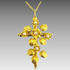 Ornate Vintage Gold Tone Floral Cross with Faux Pearls