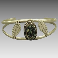 Vintage Abalone Sterling Cuff Bracelet with Leaves
