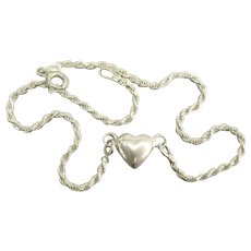 Vintage Italian Sterling Anklet Ankle Bracelet with Puffy Heart