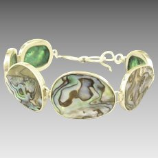 Stunning Polished Abalone Shell Sterling Silver Bracelet