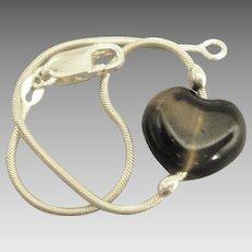 Lovely Sterling Simulated tortoise Heart Bracelet