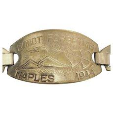 """Vintage 1944 """"Do Not Forget Me"""" Pressed Metal Bracelet"""