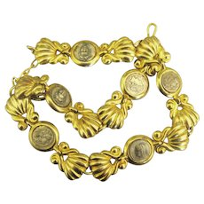 Vintage Faux Coin Gold Tone Necklace from Greece