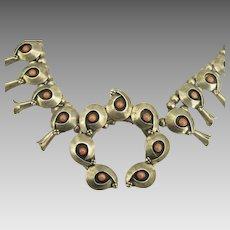 Vintage Sterling Coral Squash Blossom Navajo Necklace- 8 ounces (224 Grams)