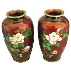 Vintage Japanese Pigeon Blood Floral Cloisonne Vase Pair