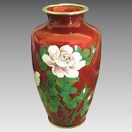 Vintage Japanese Pigeon Blood Floral Cloisonne Vase- 7 1/4 Inches