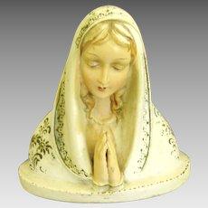 Vintage Italian Ceramic Bust of St. Mary