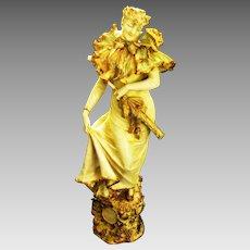 Early 1900's Turn-Teplitz Bohemian Porcelain Female Statue