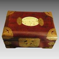 Vintage Mahogany Asian Jewelry Box