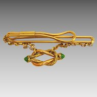 Vintage Gold Fill Tie Bar with Peking Glass Fob