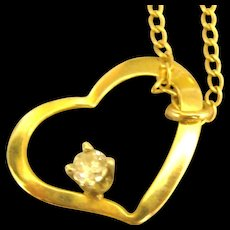 Pretty 14K Open Heart Diamond Pendant and 16 Inch Chain - Red Tag Sale Item