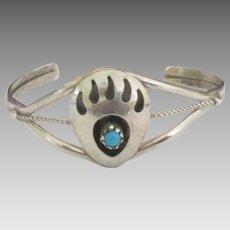 Vintage Navajo Sterling Bear Claw Baby Bracelet