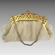 Lovely Vintage Whiting and Davis Ornate Open Work Frame Mesh Purse