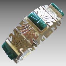 Vintage Signed Sterling Carved Calcite Aztec Mask Bracelet