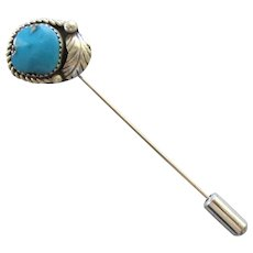 Vintage Navajo Turquoise Sterling Feather Stick Pin