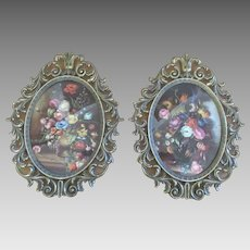 2 Large Italian Ornate Metal Framed Floral Prints with Curved Glass