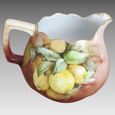 """Large Antique M&Z Hand Painted """"Lemons"""" Austrian Porcelain Pitcher"""