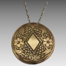 Large Art Nouveau Gold Fill Taille d'Epargne Round Locket with Chain