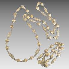 Elegant Vintage AB Caged Crystal Gold Tone Necklace and Bracelet Demi Parure